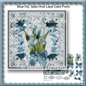 Blue Iris, Satin And Lace Card Front