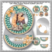 Girl With Puppy Round Easel Card Kit