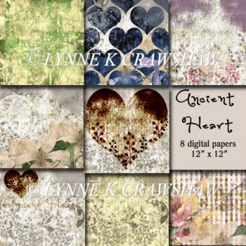 ANCIENT HEART - 8 digital papers/backgrounds 12 inch x 12 inch