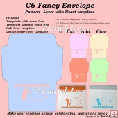 C6 Fancy Envelope - Pattern - Lover with Heart template