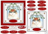 Christmas Cat (2) 6 x 6 Card Topper With Masses Of Greetings Tag