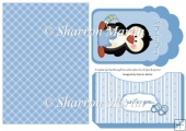 BABY44 Blue Penguin Baby Tag Card Front