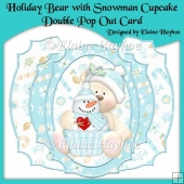 Holiday Bear with Snowman Cupcake Double Pop Out card Kit