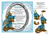 8 x 8 Scorpio Zodiac Birthday Gemstone Dragon Decoupage Topper