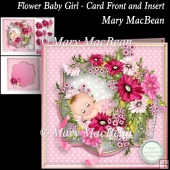 Flower Baby Girl - Card Front and Insert