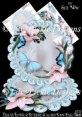 Delicate Flowers & Butterflies Scalloped Round Easel Card