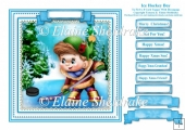 Christmas Ice Hockey Boy - Square Card Topper + Family Greetings
