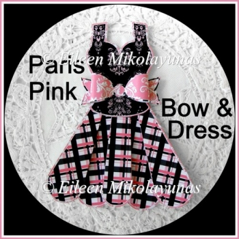 Paris Pink Paper Dress and Bow Embellishment Set