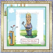 Puzzled golfer 7x7 card and decoupage