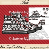 Sneaker Shoe Shape Card Skull Black