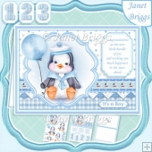 BABY PENGUIN OR BIRTHDAY A5 Decoupage & Insert Card Kit