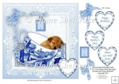 "Blue Teacup Sleeping Puppy Dog - 8"" x 8"" Card Topper & Decoupage"