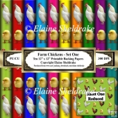Farm Chickens - Set One - Ten 12 x 12 Printable Sheets