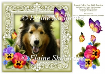 Rough Collie Dog Pansies Butterfly 8 x 8 Card Topper & Decoupage