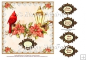 "Cardinal & Poinsettias - 8"" Card Topper with Assorted Greetings"