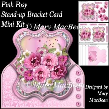 Pink Posy - Stand-up Bracket Card Mini Kit