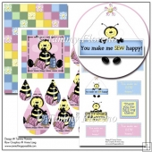 Sew Happy to Bee Thankful Teardrop Pyramage with Sentiments