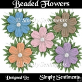 5 Digital Beaded Flowers