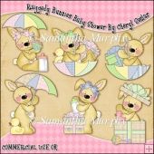 Raggedy Bunnies Baby Shower ClipArt Graphic Collection