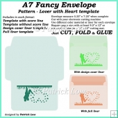 A7 Fancy Envelope - Pattern - Lover with Heart template