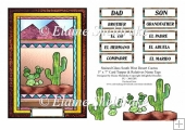 Stained Glass South West Desert Cactus 5x7 Card Topper + Tags
