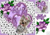 cute valentine with purple heart & rose with puppy 8x8