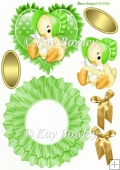 Cute little chick in a green bonnet on frilly rocker with bows