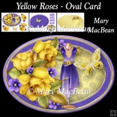 Yellow Roses - Oval Card
