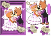 Lovely bear wedding couple in purple frame A5