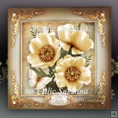 Vintage Cream Poppies for All Occasions Card Mini Kit