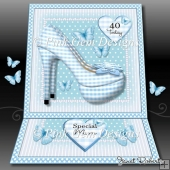 Blue Gingham Shoes Easel Card Mini Kit
