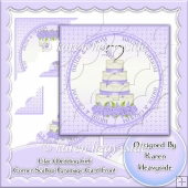Lilac Wedding 6x6 Corner Scallop Pyramage Card Front