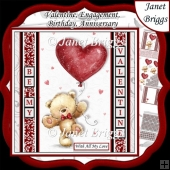BEAR WITH HEART BALLOON 7.5 Decoupage Easy Cut Words & Alphabet