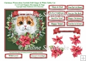 Christmas Poinsettias Watercolour Scottish Fold Cat - 6 x 6 Card