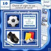 FOOTBALL BLUE 7.5 Quick Card Verse or Ages Decoupage & Insert