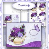 Wavy edge teapot and roses card set