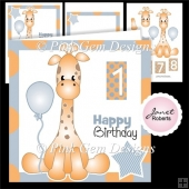 Blue Giraffe Birthday Topper
