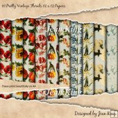 10 Pretty Vintage Florals 12 x 12 Papers