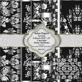 "8"" x 8"" Black & White Asian Backing Papers Set One"