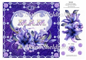 8 x 8 Lily Names A - Z - MAM - Decoupage Card Topper