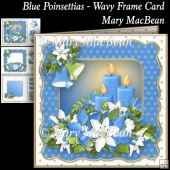 Blue Poinsettias - Wavy Frame Card