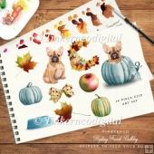 Autumn French bulldog, pumpkins and apples, watercolour clipart.