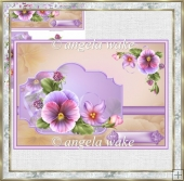 Spring pansy card with topper and decoupage
