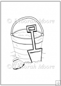 Sea side bucket and Spade Digital Stamp/Line Art