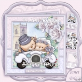 Wedding Bears in Car 8x8 White Wedding Kit & Decoupage
