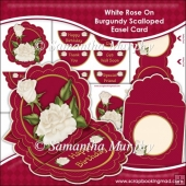 White Satin Rose On Burgundy Scalloped Easel Card Download