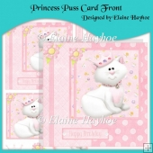 Princess Puss Card Front with Decoupage