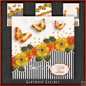 Vintage Flowers Stripes and Butterflies orange yellow 1077