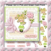 Flower Girl in Pink and Green Card Front