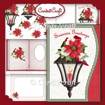Wavy edge Christmas lamp and poinsettia card set